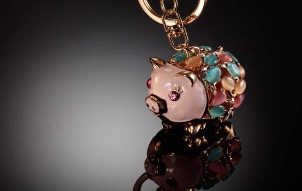 Porte clé – bijou – cochon rose