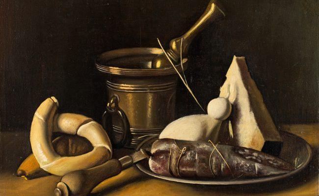 Gregorio Sciltian nature-morte au fromage et saucisson
